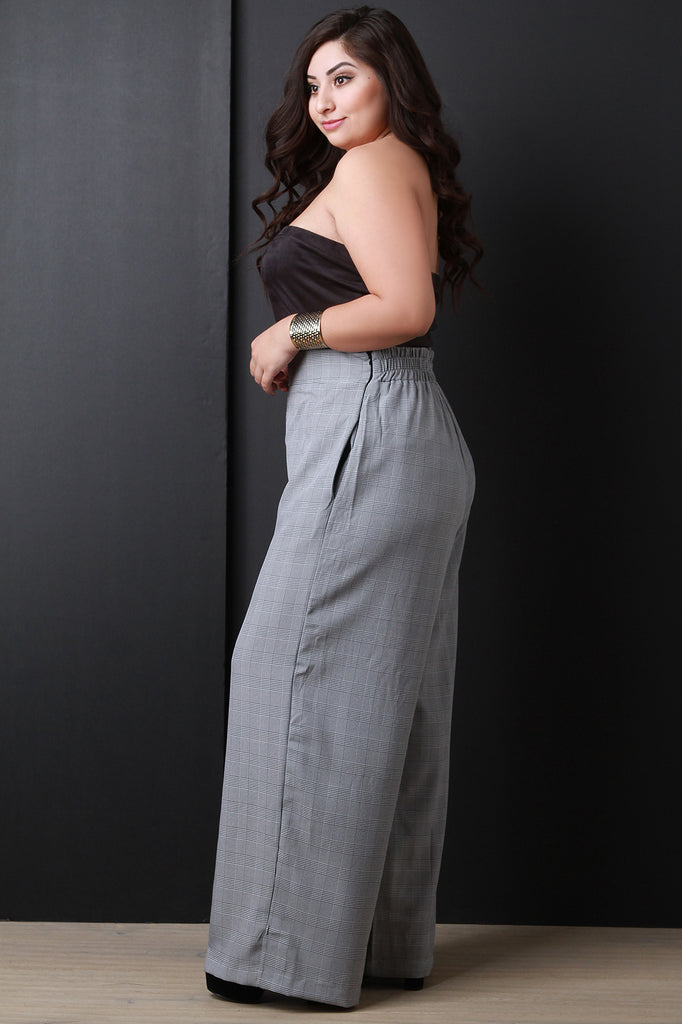 High Waisted Glen Plaid Wide Leg Pants