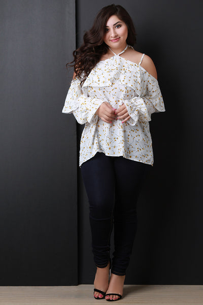 Floral Tier Cold Shoulder Trumpet Sleeve Top