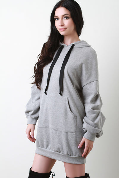 Ruched Statement Sleeve Oversized Hoodie Dress