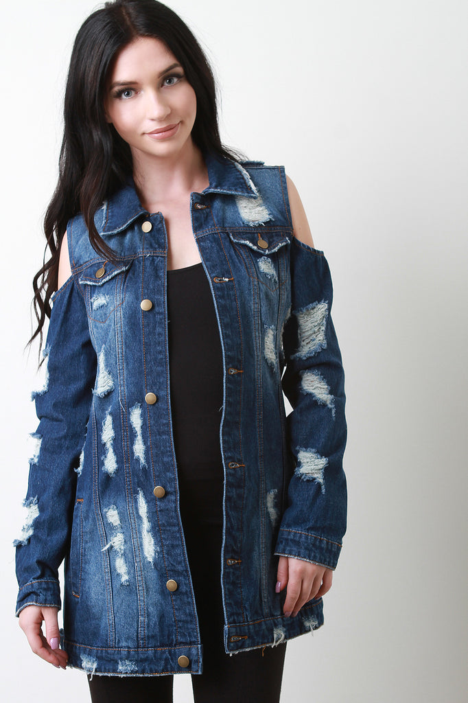 Slashed Back Cold Shoulder Stringy Destroyed Denim Jacket