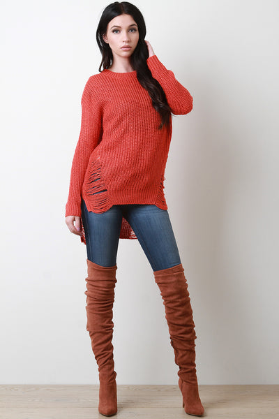 Shredded Loose Knit Long Sleeve High-Low Sweater