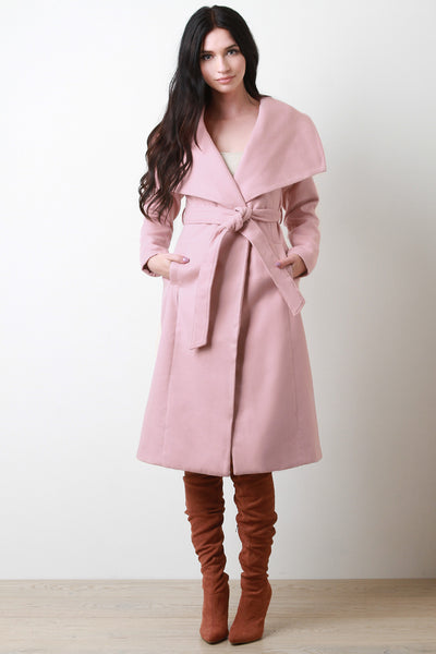 Soft Knit Oversized Lapel Collar Trench Coat