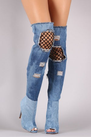 Fishnet Panel Distressed Denim Peep Toe OTK Boots