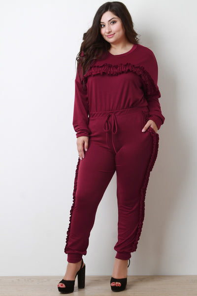 Ruffled Sweater Top With High Rise Jogger Pants Set