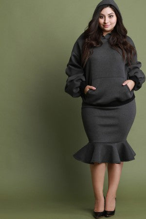 Scuba Ruched Statement Sleeves Hoodie With Peplum Skirt Set