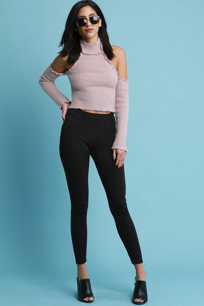 Fuzzy Cable Knit Cold Shoulder Turtle Neck Crop Top