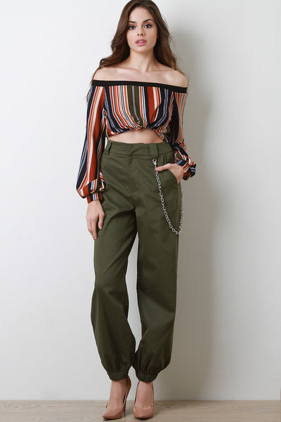 Chain Embellished Slouchy Pants