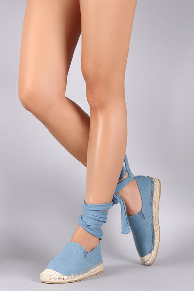 Qupid Denim Ankle Lace Up Espadrille Flat
