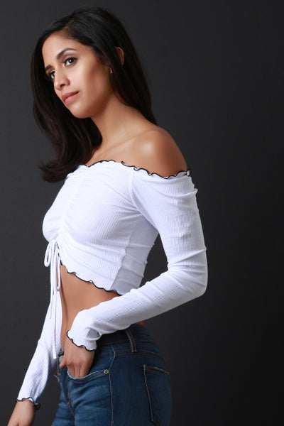 Ruched Lace-Tie Bardot Long Sleeves Crop Top