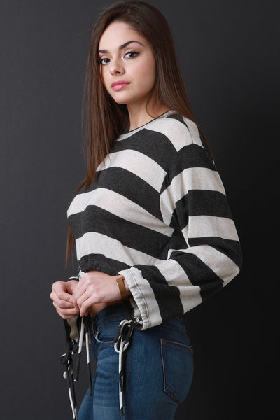 Wide Striped Drawstring Crop Hem Top