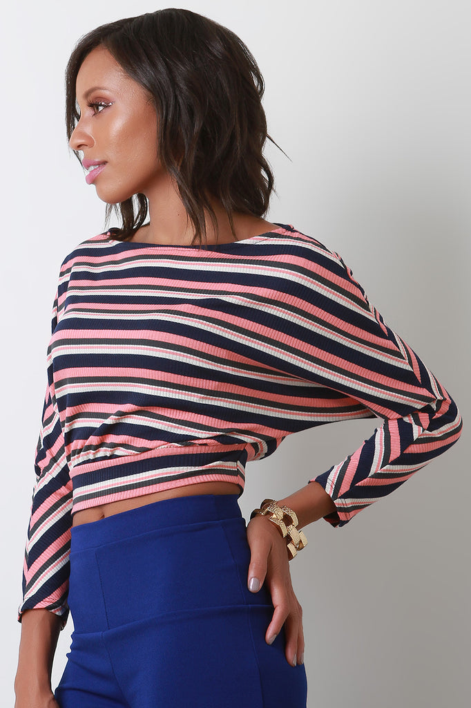 Ribbed Striped Dolman Sleeve Crop Top