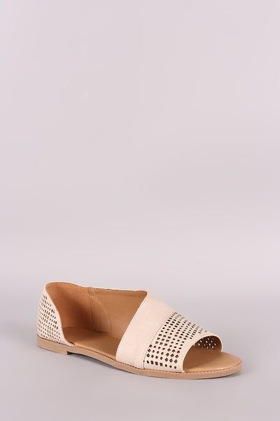 Qupid Dorsay Perforated Flat Sandal