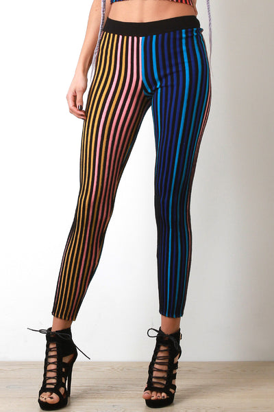 Multi Color Ribbed Knit Leggings