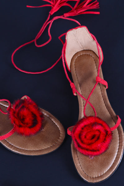 Suede Faux Fur Floral Lace-Up Thong Flat Sandal