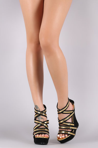 Metallic Two Tone Strappy Suede Platform Wedge
