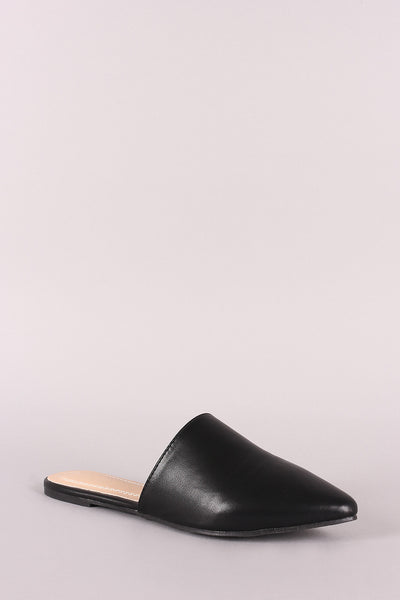 Vegan Leather Pointy Toe Mule Flats