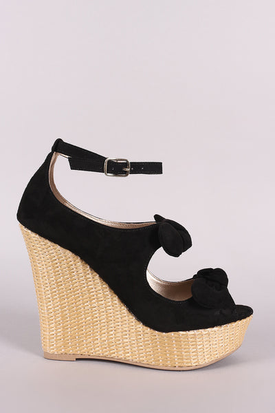 Qupid Suede Bow Ankle Strap Wedge