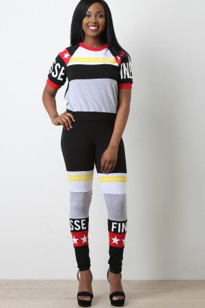Colorblocked Star Finesse Print Crop Top With Leggings Set