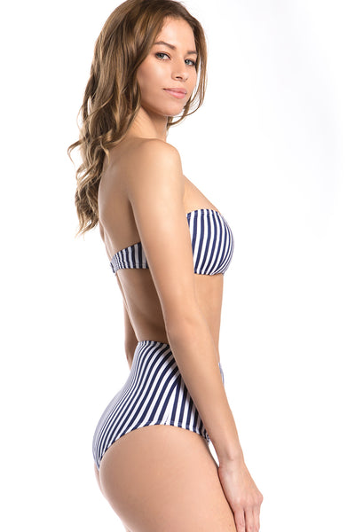 Tribal Stripes Print Strapless Bikini Set