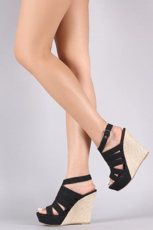 Qupid Strappy Nubuck Open Toe Espadrille Platform Wedge