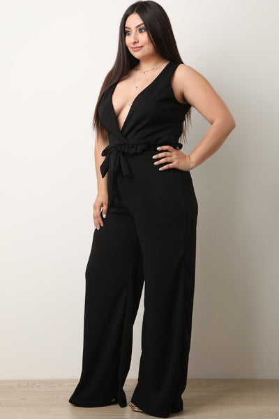 Plunging Neck Ruffled Waist Sash Wide Leg Jumpsuit