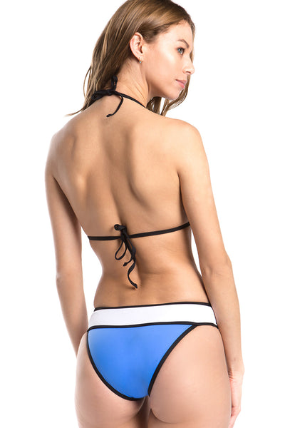 Colorblock Cutout Halter One Piece Swimsuit