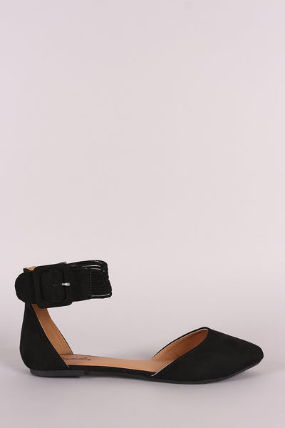 Qupid Suede Pointy Toe Buckled Strappy Ankle Cuff Flat
