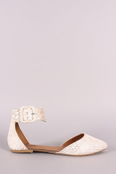 Qupid Snakeskin Pointy Toe Buckled Strappy Ankle Cuff Flat