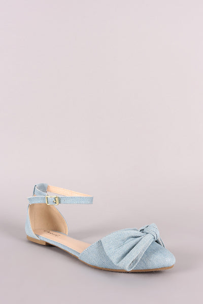 Qupid Denim Bow Accent Pointy Toe Ankle Strap Flat