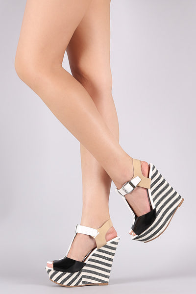 Colorblock T-Strap Striped Platform Wedge