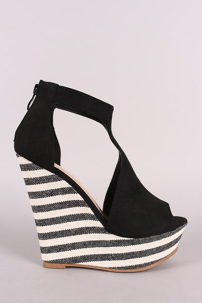 Suede T-Strap Striped Platform Wedge