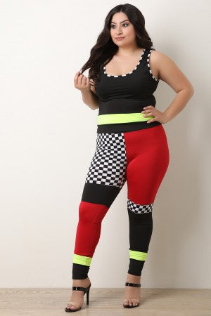 Checkered Colorblock Crop Top With Leggings Set