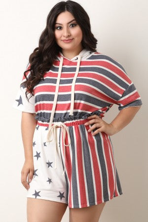 Stars And Stripes Hoodie Top With Shorts Set