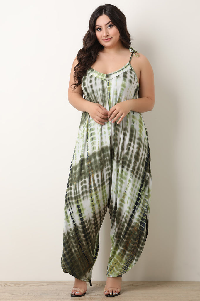 Jersey Knit Tie Dye Tie Shoulder Jumpsuit