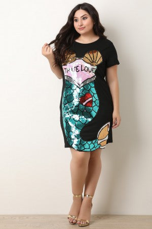 True Love Sequins Mermaid Shift Dress