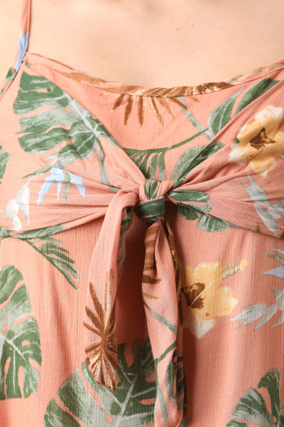 Tropic Palm Front Tie Shift Dress