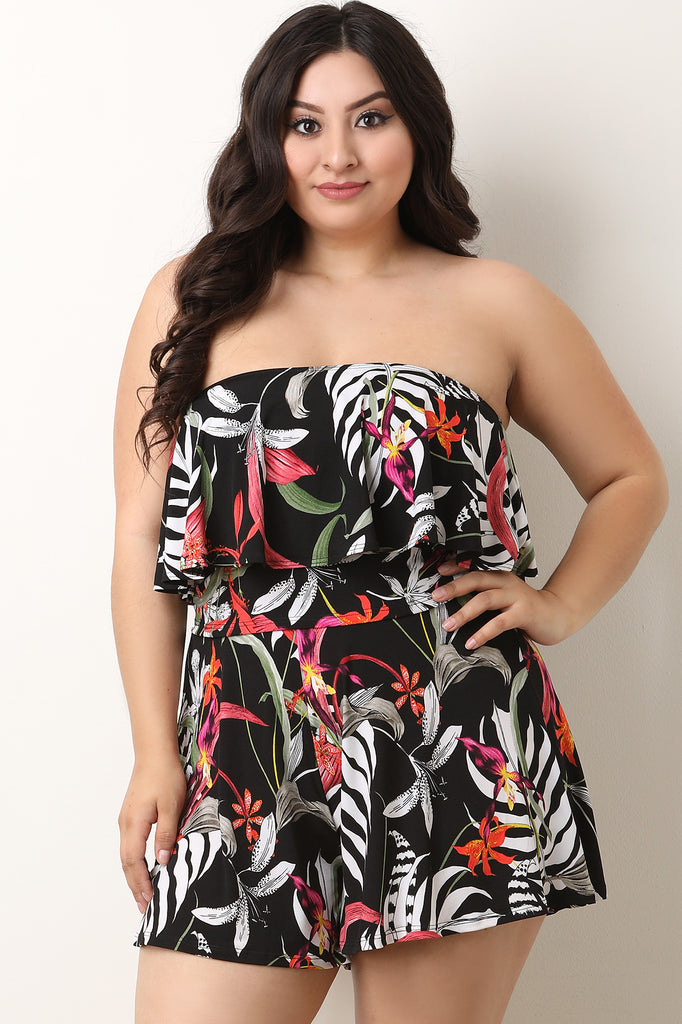 Tropical Floral Flutter Tube Top With Shorts Set