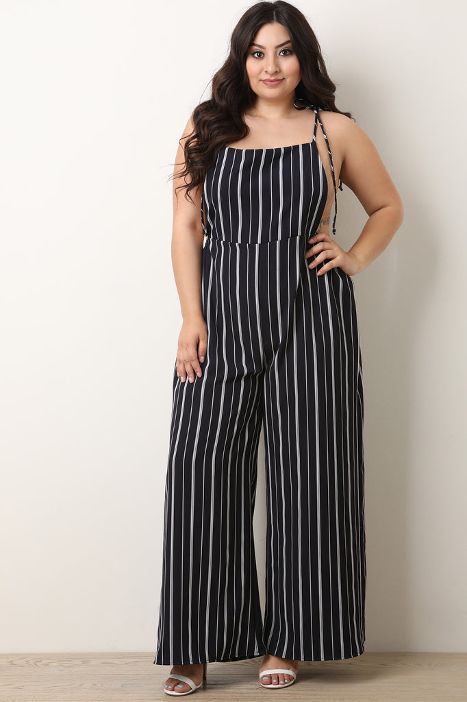 Stripe Tie Shoulder Overall Jumpsuit