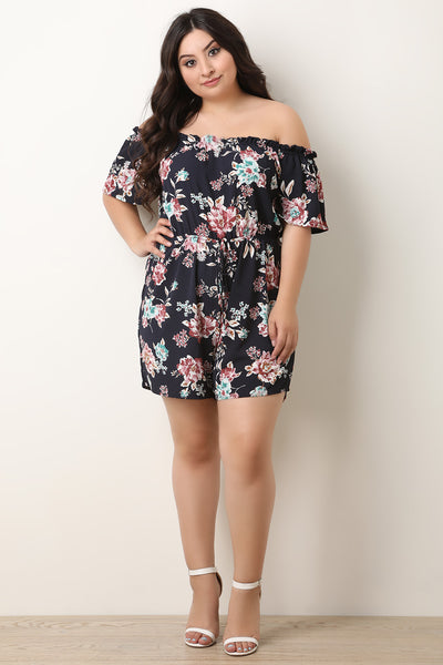 Floral Flutter Sleeves Off-The-Shoulder Romper