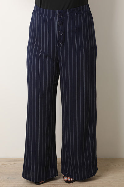 High Rise Pinstripe Button Wide Cut Pants