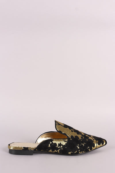 Satin Floral Embroidery Pointy Toe Mule Loafer Flat
