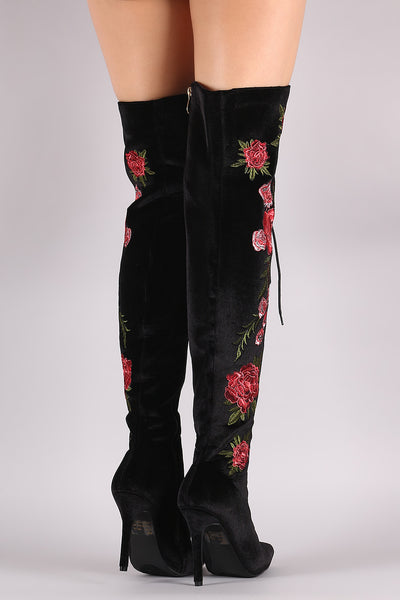 Velvet Floral Embroidery Lace-Up Stiletto OTK Boots