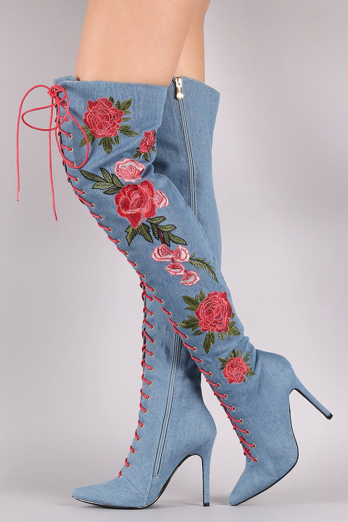 Denim Floral Embroidery Lace-Up Stiletto OTK Boots