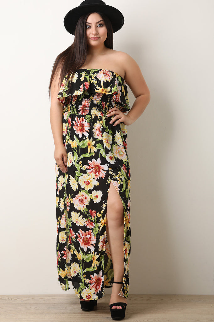 Tropical Off-The-Shoulder Ruffled Slit Maxi Dress