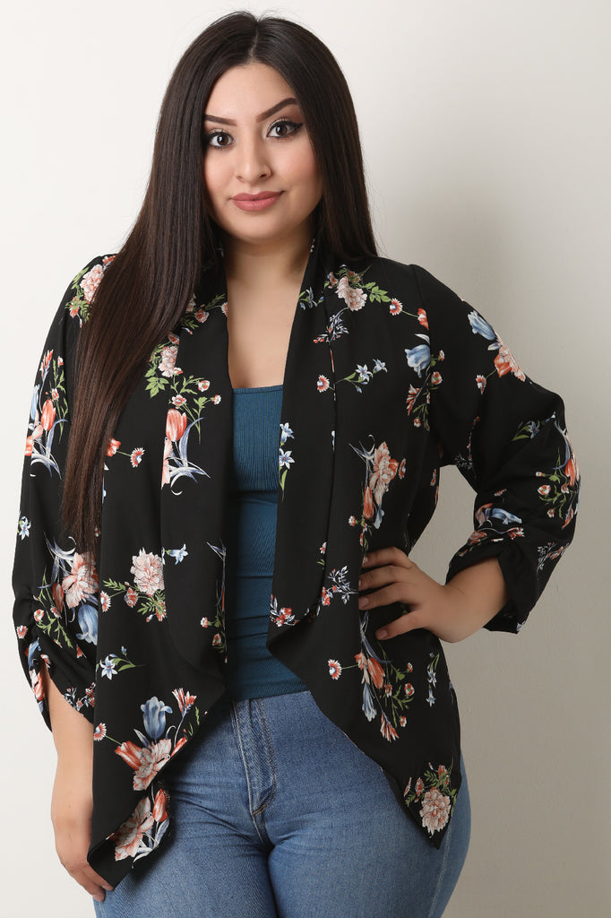 Floral Crepe Collar Cinched Sleeves Blazer