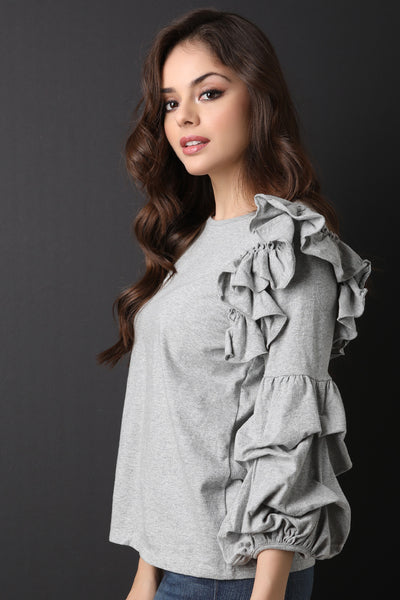 Ruffle Puff Statement Sleeve Top