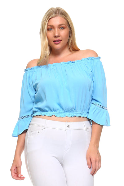 Women's Plus Size 3/4 Three Quarter Off Shoulder Boho Top