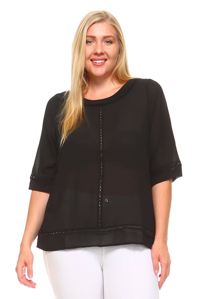 Women's Plus Size 3/4 Three Quarter Sleeve Sheer Blouse
