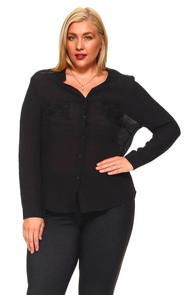 Women's Plus Size Button Down Long Sleeve With Flower-Printed Mesh Inserts