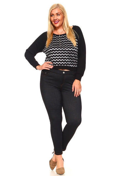 Women's Plus Size Cropped Sweater Top With Metallic Jagged Lines